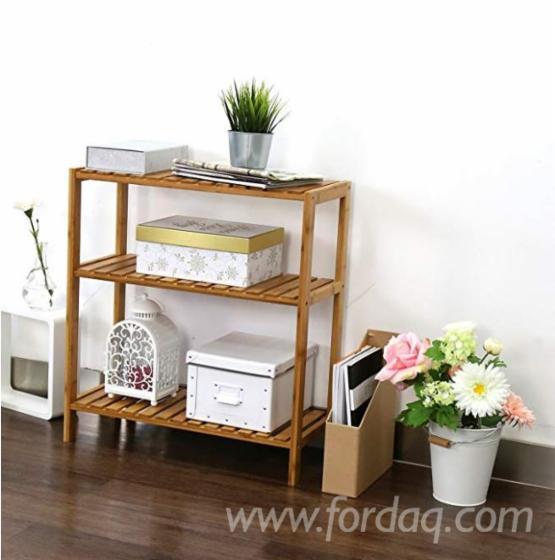 Wall Mounted 3-Tier Multinational Shelf Rack Wood Adjustable Shelf Bathroom Kitchen Living Room