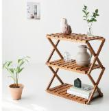 Vietnam Living Room Furniture - 3 Tier Acacia Wooden Folding Shelf in 2-shapes, Floor-Standing Shelf for Living Room Balcony