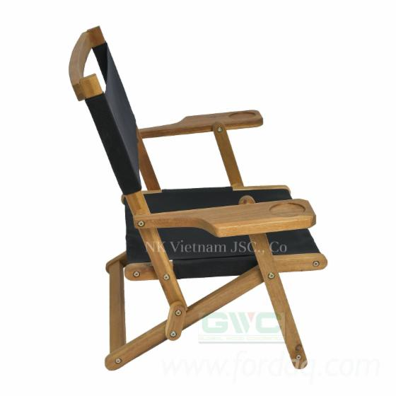 Acacia Wood Leisure Chairs - Foldable Chairs with Fabric