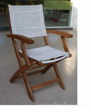 Wood Textile Folding Arm chair