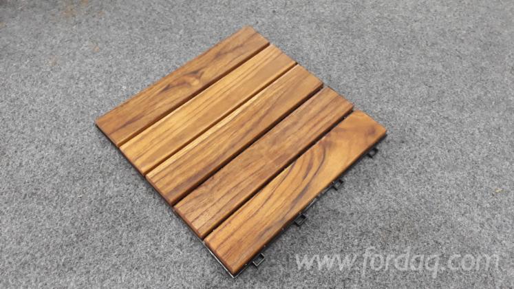 Vietnam Teak Wood Snap In Deck Tiles