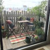 Folding Garden Table and Chair with Metal Frame (DIY Assembly)