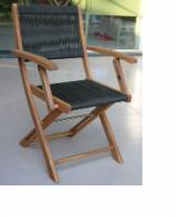 Acacia Garden Furniture - Wood rope folding arm chair, Oil finishing