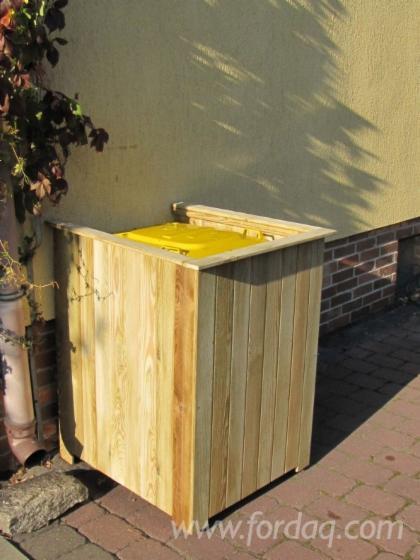 Cobertizo cubre contenedores basura de madera