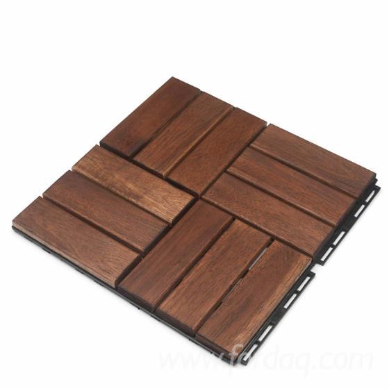 Vietnam Acacia Garden Wood Tiles, 19mm