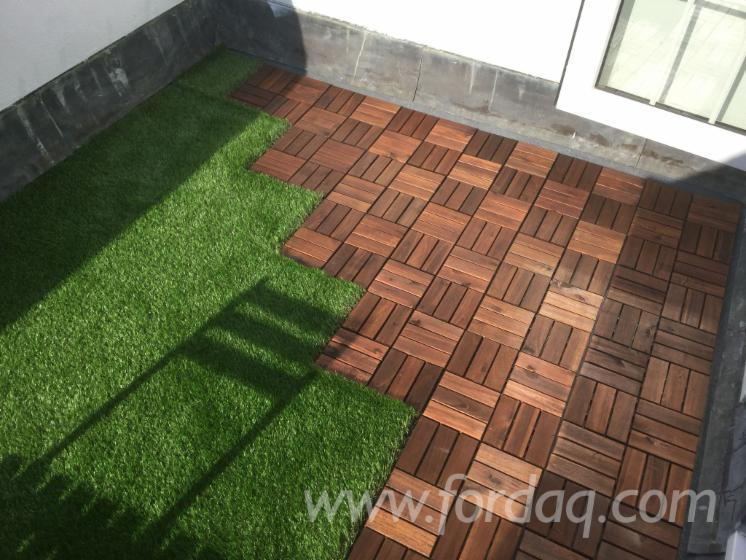 FSC Classic Brown Finish Acacia Deck Tiles, 300x300 mm