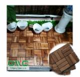 Outdoor Acacia Wood Deck Tiles/ Anti - Slip Wood Flooring