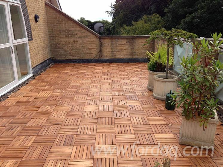 Classic Deck Tiles with Brown Finish/ Vietnam Oil Acacia Checker