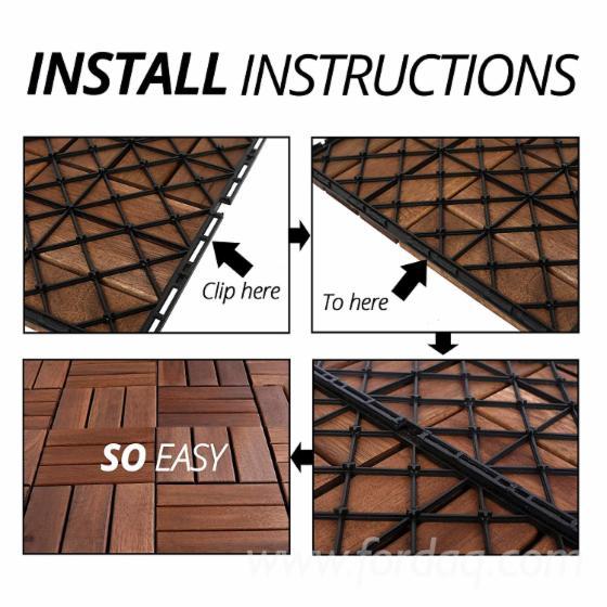 Brown Square Hardwood Deck Tiles - Outdoor Living Deck Tiles