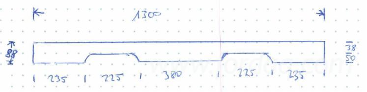 Kantholz Laubholz 45x88x1300mm mit Ausfräsung