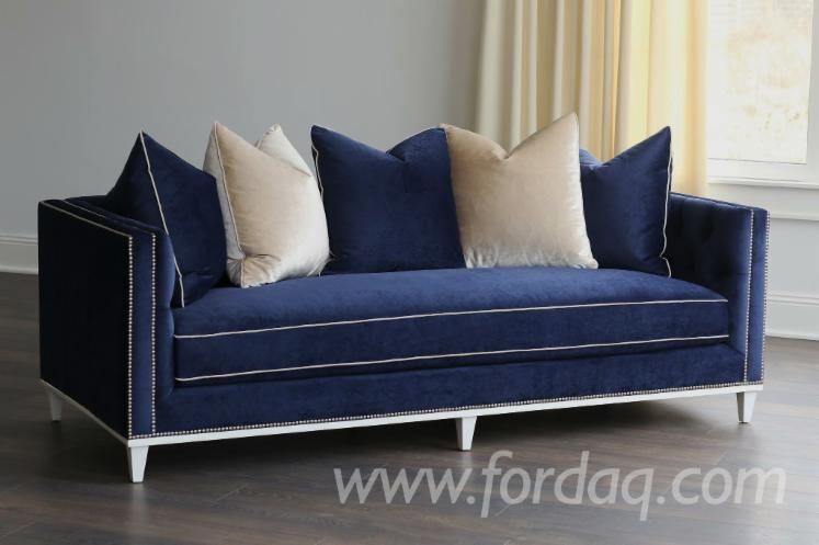 Fiona Sofa, Blue/ Satin