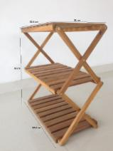 Living Room Furniture - 3 Tier Wood Rack/Easy Transforming Wood Folding Shelf