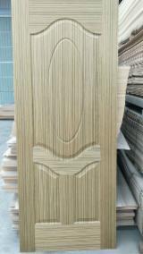 Natural Teak Faced Moulded HDF Door Skin, Three Panels