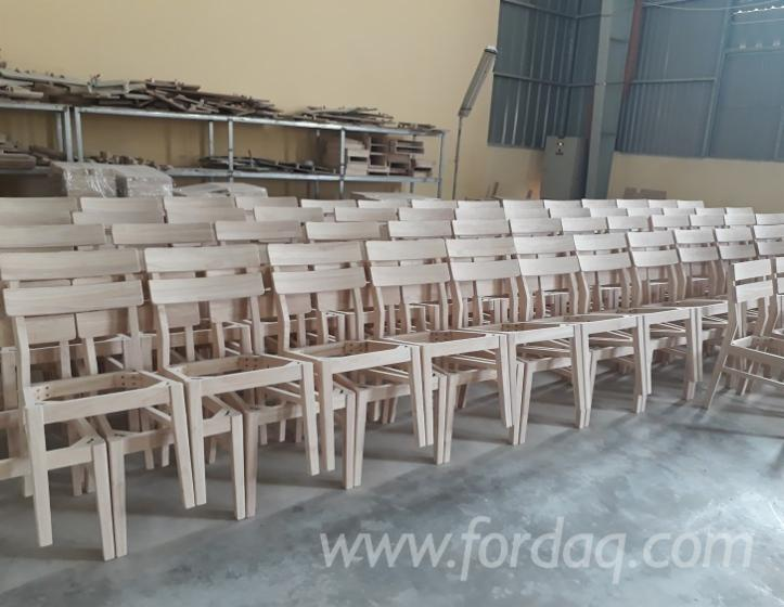 Modern unfinished chair frames, rubberwood