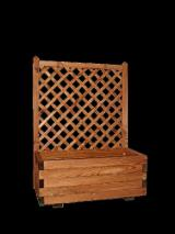 Pine - Scots Pine Garden Products - BASIC, planter with trellis, glazed in honey colour