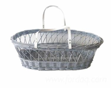 Handmade Woven Wicker Basket for Babies