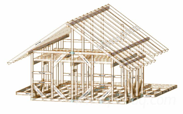 Frame houses from glued timber with cutting under the project of the customer.