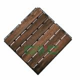 Straight Patterns Wood Deck Tiles with 6 Slats for Outdoor Application
