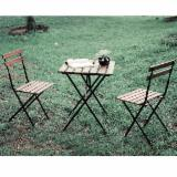 Vintage Acacia Wood Coffee Table and Chairs, Outdoor Bistro Set