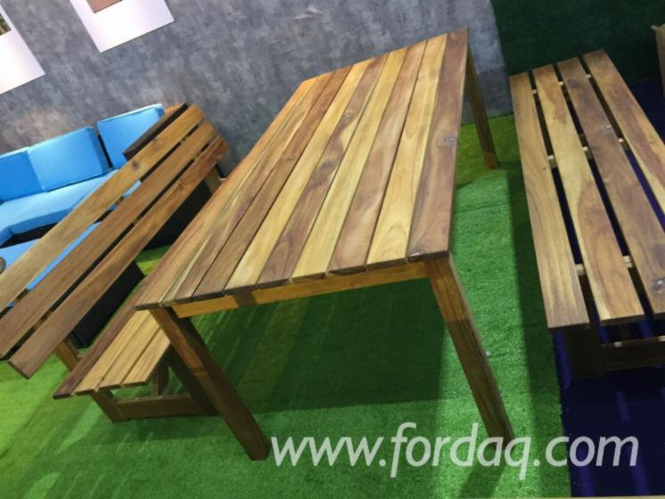 3-Pieces Acacia Wood Dining Set with 2 Benches, DIY Assembly