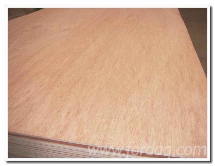 Natural larch veneer faced commercial plywood with poplar core