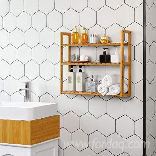 Bathroom Shelf 3-Tier/ Wall Mount Shelf for Living Room Kitchen Balcony/ Adjustable Free Standing Multifunctional Utility