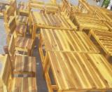 Garden Furniture Natural Wood - Rubberwood/Acacia Garden Furniture Sets: Chairs and Tables