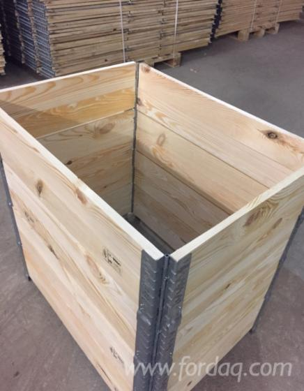 New Spruce/Pine Wooden HALF Pallet Collars, Pliable Industrial Crates 600x800