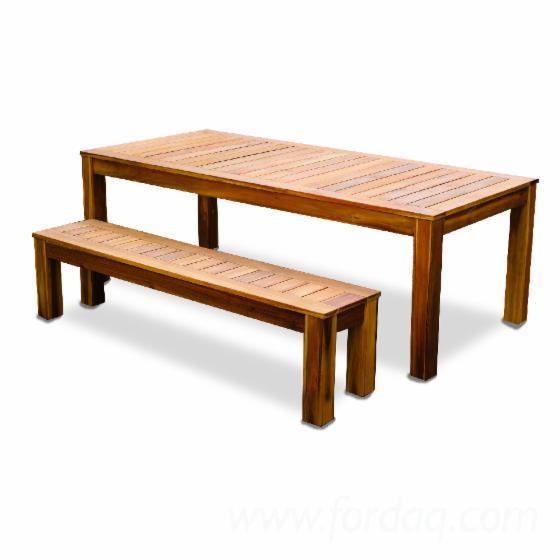 FSC Acacia BBQ Table Set and Bench
