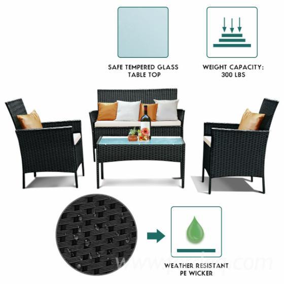 PP Rattan Outdoor Garden Patio Furniture Set (4 pieces)