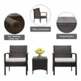Simple Wicker 3 Pc Patio Furniture Set/ Lightweight PE Rattan Outdoor Set