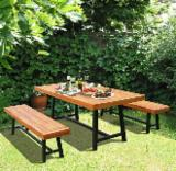 Indoor Farmhouse Furniture/ 3-Piece Wood Outdoor Picnic Dining Set/ Kitchen Table Set with Benches
