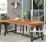 3-Pieces Solid Wood Vintage Dining Set (Table+Benches)