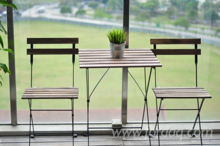 3-Pieces Outdoor Steel Frame Bistro Set (Table+Chair)