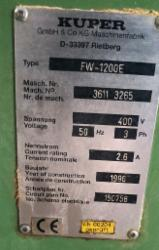Used Kuper FM 1200E Veneer Jointing Machine, 1990