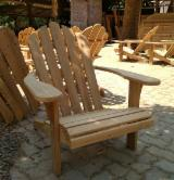 Garden Furniture Natural Wood - Adirondack Teak Wood Chair with Foot Step (Traditional), CE
