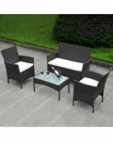 Rattan Garden Furniture - 4 pcs Sofa Set Black Wicker Weave