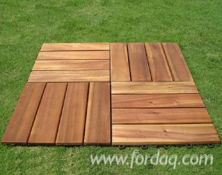 Acacia Deck Tiles (4 Slats), 19 mm