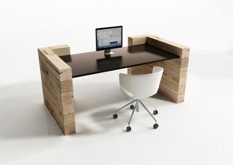 Modular office single/multi-desks in solid wood - CRAFTWAND