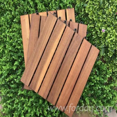 Acacia Wood Deck Tiles (6 Slats), 300x300 mm