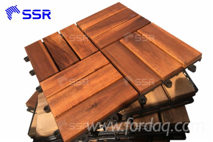 anti slipped acacia wood components/ Garden Decking Tiles, 19-24 mm