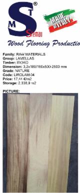 Lamelle Iroko nature dimensioni 3,2x180/190x500-2500 mm