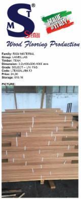 Teak lamellas UNI FAS dimension 3,2x100x600-1000 mm