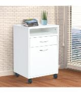 Drawer unit with wheels - office and home - white particle board - 40 x 35 x 60 cm