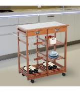 Diningroom Furniture Design - Acacia+Metal Multi-Function Kitchen Trolley (Wheels)