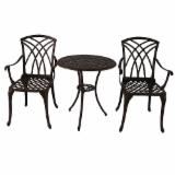 3-Pieces Outdoor Cast Aluminum Bistro Set (Chair+Table)