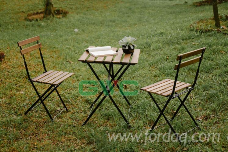 Acacia+Metal Frame Foldable Garden Set (1 Table+2 Chairs)