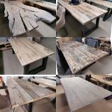 Diningroom Furniture Design - Recycled Old Oak Wood Tables/Table Tops (+Epoxy Resin)
