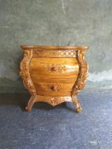 Teak Wood Hand Carved 2-Drawers Bedside, CE