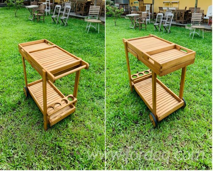 Garden Furniture - Acacia Tea Trolley (Design Style), Natural Oil Finish